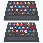 Vector flat modern keyboard, social buttons. Material design Stock Illustration