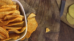 Rippled Potato Chips (not loopable 4K footage) Stock Footage