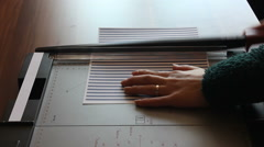 cutting paper machine - stock footage