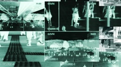 Surveillance camera monitor split screen background. public safety observation. Stock Footage