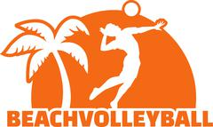 Beach Volleyball Player with Palm - stock illustration