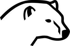 Polar bear head side - stock illustration