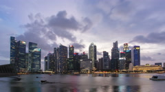 4K Day to Night Timelapse : Singapore Skyline and view of Marina Bay Stock Footage