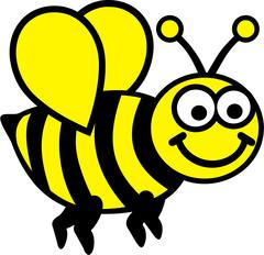 Cartoon Bee two colors Stock Illustration