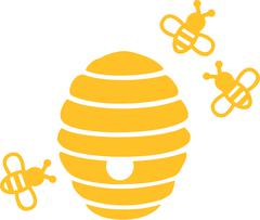 Beehive with bees - stock illustration