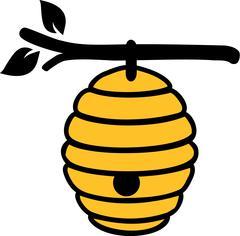 Beehive on branch - stock illustration