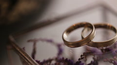 Close up of gold wedding rings on purple flowers backround - stock footage