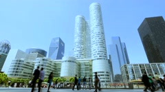 Establishing shot of high rise skyscraper buildings in modern city district Stock Footage