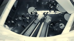financial business district in modern city. urban people commuting lifestyle - stock footage
