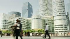 City urban landmarks scenery. skyline cityscape business buildings district Stock Footage