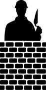 Brick Layer Silhouette - stock illustration