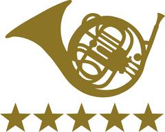 French Horn with five stars - stock illustration