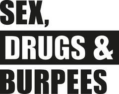 Sex drugs burpees - stock illustration
