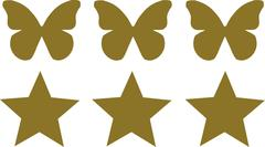 Three Butterflies with three stars - stock illustration
