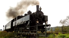 Steam Engine Train locomotive. old nostalgic technology. railway transportation Stock Footage
