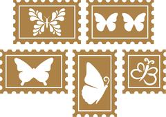 Vintage Stamps with Butterflies - stock illustration