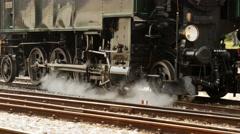 Old steam locomotive train. steam engine power. nostalgic historical trains Stock Footage