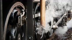 Old steam locomotive train. steam engine power. nostalgic historical trains Stock Footage