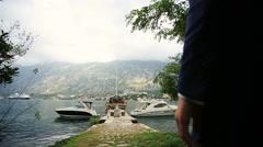 Wedding couple walking on the romantic bertn in Montenegro, Budva Stock Footage