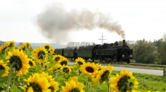 Steam Engine Train locomotive. old nostalgic technology. railway transportation - stock footage