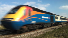 East Midlands High Speed train on the Midland mainline in Northamptonshire. Stock Footage
