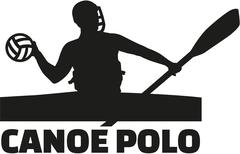 Canoe polo player with word Stock Illustration