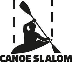 Canoe slalom silhouette with word - stock illustration