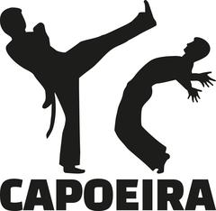 Capoeira fight with word - stock illustration