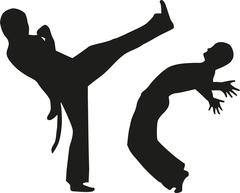 Two man fighting capoeira - stock illustration