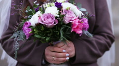 Colorful Wedding Bouquet At Bride's Hands - stock footage