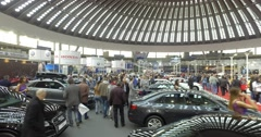 Serbia,Belgrade Crowded Car Motor Moto show March 2016 - stock footage