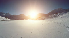 Winter landscape scenery. snow covered mountain panorama Stock Footage