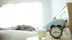 Boy drink milk before sleep Stock Footage
