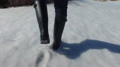 4k boots walking in deep snow Stock Footage