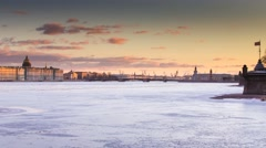 Russia, Saint-Petersburg, 19 March 2016: The water area of the Neva River Stock Footage