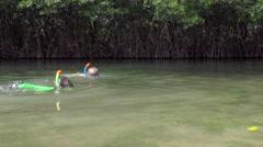 Boys Snorkeling In Lagoon Arkistovideo