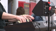 Country music band playing at concert on campus Stock Footage