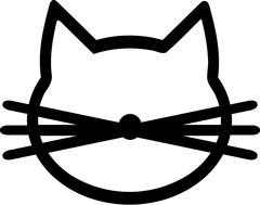 Cat Icon with mustache - stock illustration