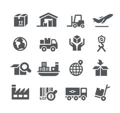 Industry and Logistics icons -- Utility Series Stock Illustration