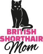 British Shorthair cat mom - stock illustration