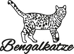 Bengal cat with breed name - stock illustration