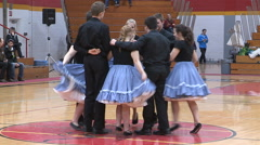 Square dancing to country music on university campus in Guelph Stock Footage