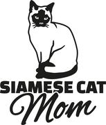 Siamese cat Mom - stock illustration