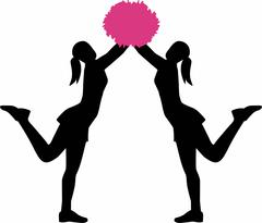 Two cheerleader with pom pom - stock illustration