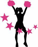 Cheerleader with pink stars - stock illustration
