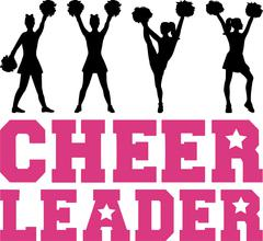 Stock Illustration of Cheerleader word with silhouettes