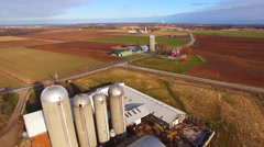 Aerial View of America's Heartland, Rural Wisconsin Farm Fields, Springtime Stock Footage