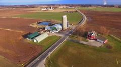 Aerial View of America's Heartland, Rural Wisconsin Farm Fields, Springtime Stock Footage
