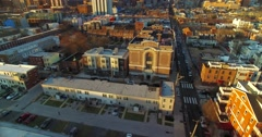 Aerial Of Downtown Philadelphia, Pennsylvania during Golden Hour. Stock Footage