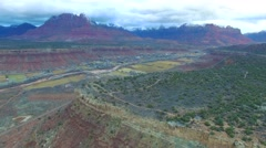 Aerial footage of a Beautiful town outside Zion National Park with snow. Stock Footage